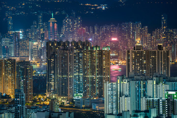 Skyline Hong Kong city at twilight time view from mountain in Hong Kong.