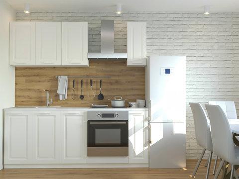 3d rendering of new loft kitchen cabinet