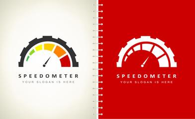 Speedometer logo vector. Design vector illustration.