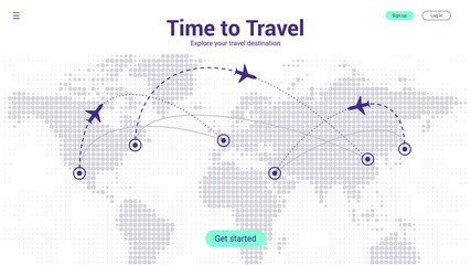 Travel Landing Page Concept. World Travel Map Template with Airplane and Route Destination. Violet futuristic Halftone Dots Background. Vector EPS 10