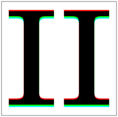 Roman Number 2. Dynamic, split-color design and black font, blue, green, red shadow. in black thin frame and on white background.