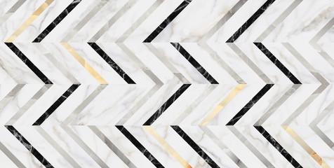 Obraz Marble luxury seamless pattern with golden decor. herringbone pattern surface classic style stone paving, seamless texture map. - fototapety do salonu