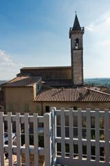 Bell tower at Castello dei Conti Guidi in Vinci, Tuscany, Italy