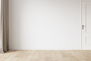 White empty room mockup with brown curtain, white door and wood floor. 3D illustration.