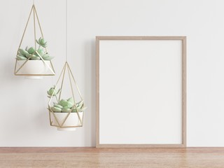 Vertical wooden frame mock up with white wall and green cactus. 3D illustrations.