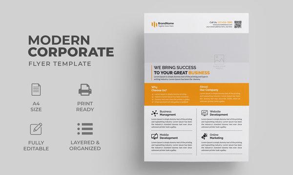 Flyer Template with Orange Color | Modern Clean Flyer Design | Creative Poster, Brochure