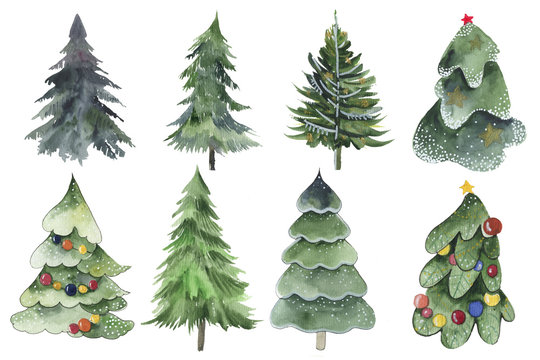 Set of Christmas tree watercolor icon. Collection of New Years xmas trees with heralds, striped christmas pine. 2020 winter holidays party green fir.