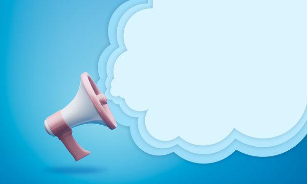 megaphone with Speech bubble 3d illustration