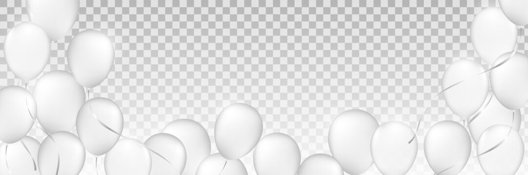white balloons, white inflatable balls, plastic ball, background of white and gray circles, festive background of balloons monochrome,