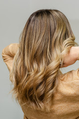 Modern trendy AirTouch technique for hair dyeing. Natural look