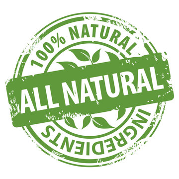 All Natural Organic Ingredients 100 percent green rubber stamp icon isolated on white background.