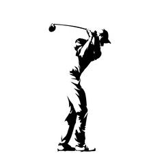 Golf player, isolated vector silhouette, golfer logo, ink drawing