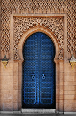 Arabic oriental styled door Classic Blue Pantone color in Morocco