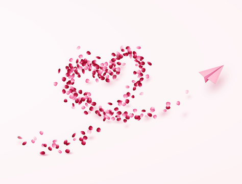 Petals of rose, flower heart with plane postcard. Paper flying airplane on pink background. Vector symbol of love for Happy Mother's, Valentine's Day greeting card design..