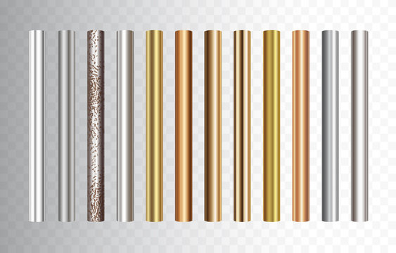 Pipe set isolated on transparent background. Chrome, steel, golden, copper and rusty iron profile elements. Vector cylinder metal tubes.
