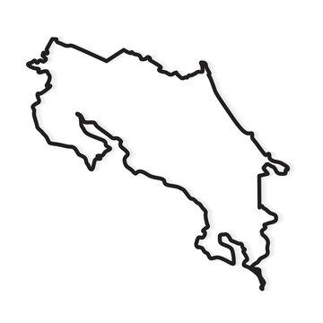 black outline of Costa Rica map- vector illustration