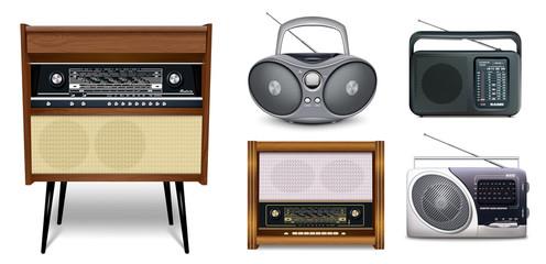 Realistic set of radios. Retro radio music receiver - Rigonda, Boombox, portable receivers. Five icons for design, for World Radio Day. Isolated ea white background. Vector illustration.