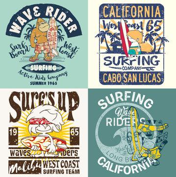 Cartoon kids California surfing team collection grunge vector print for children wear