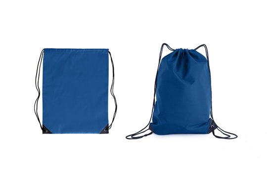 Set of classic blue drawstring packs template, bag for sport shoes isolated on white.