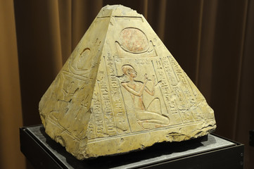 Saint Petersburg, Russia - June 14, 2016: Pyramidion from the tomb of the priest Rer in Abydos, Egypt