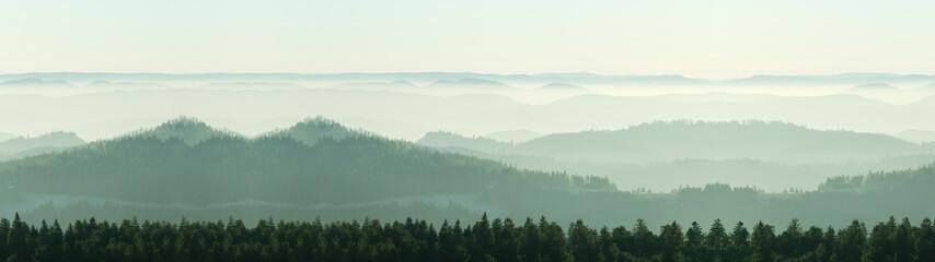Foto auf Leinwand Weiß Amazing fog landscape in black forest panorama banner long