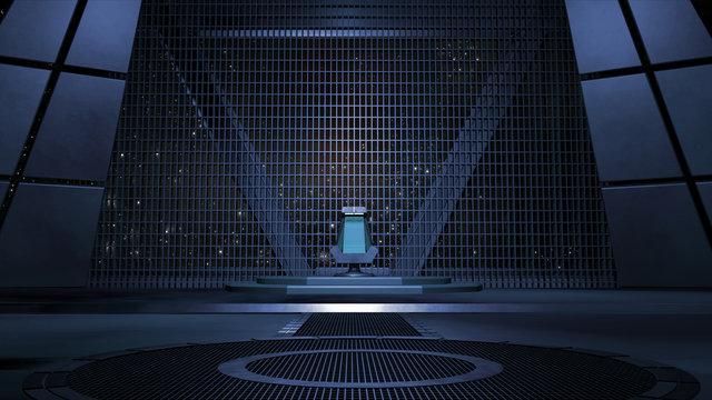 Sci fi Throne room 3d rendering