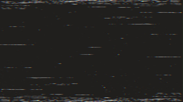 Horizontal distortion of broken video image on black background, VHS effect, glitch digital color pixel noise. Stock abstract pixel background glitch texture. Color digital noise, VHS corrupted signal