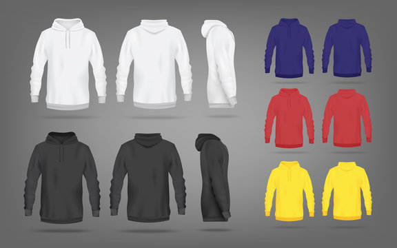 Set of sweatshirts or hoodies in views realistic vector illustration isolated.