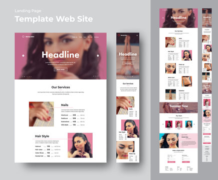 Website template for a beauty salon with place for photo.