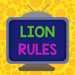 Text sign showing Lion Rules. Business photo text epitome of strength power and masculinity Master of own domain Square rectangle old multicoloured painting television picture wood design