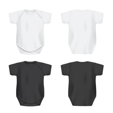 White and black blank baby bodysuit set realistic vector illustration isolated.