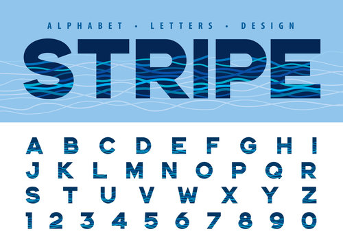Vector of Alphabet Letters and numbers, Modern Water Ripple Lines