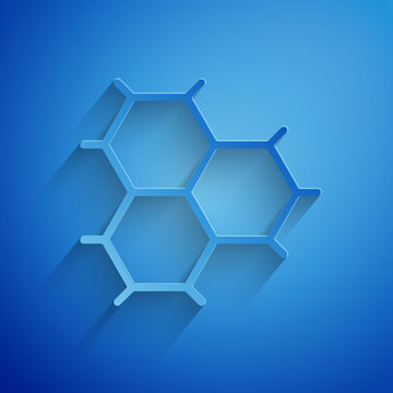 Paper cut Chemical formula consisting of benzene rings icon isolated on blue background. Paper art style. Vector Illustration
