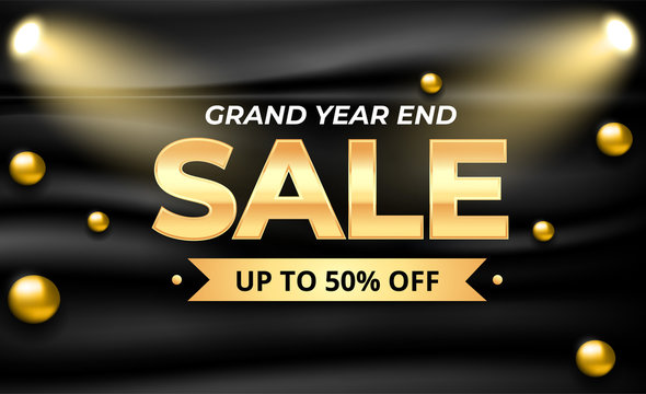 Grand year end sale banner template with 3d gold ball composition