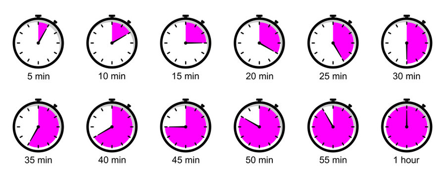 Timer concept. Stopwatch. Clock. Isolated on a white background. Time for preparing. Vector illustration on a white background.