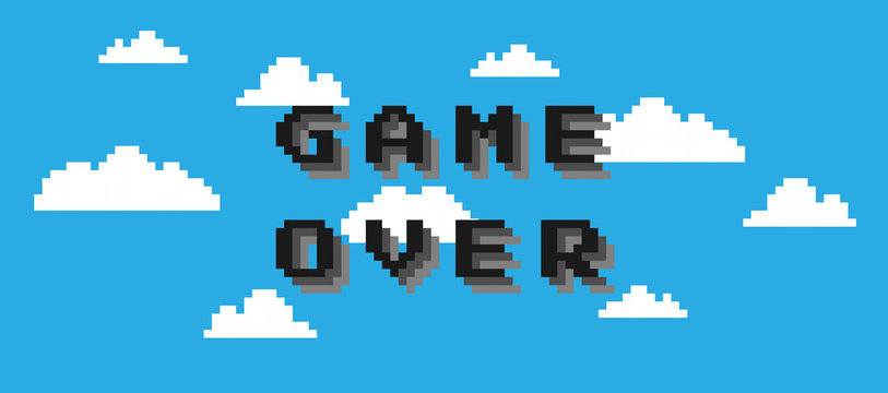Game over text isolated on cloud blue background. Pixel vector art 8 bit. Gaming controller, symbols set.