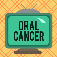 Handwriting text writing Oral Cancer. Conceptual photo the cancer of the lining of the lips mouth or upper throat Square rectangle old multicoloured painting television picture wood design