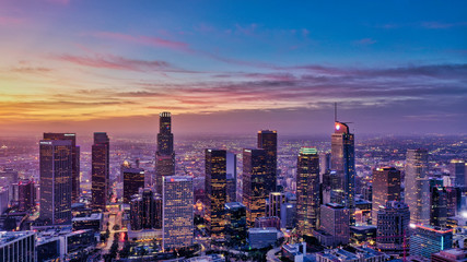 Downtown LA at sunrise aerial Fotobehang