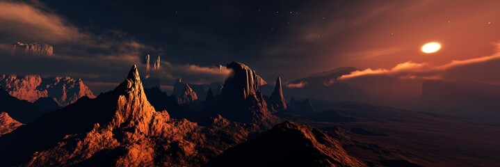 Photo sur Plexiglas Noir Mars, panorama of Mars, Martian landscape at sunset, alien landscape. 3d rendering.