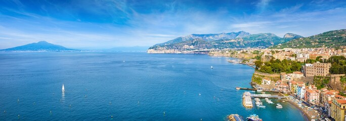 Aerial panoramic view of Marina Grande, cliff coastline Sorrento and Gulf of Naples, Italy.