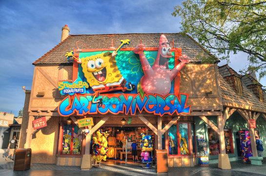 UNIVERSAL CITY, CA, USA MAY 13: Colorful HDR image of the famous SpongeBob souvenir shop. Hollywood, CA, USA May 13, 2016