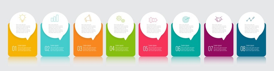 infographics design with speech bubble flat vector illustration