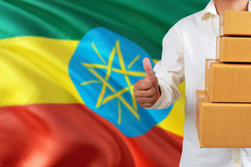 Ethiopia real estate sale concept. Wooden house model with discount tag on national flag background. Copy space for text.
