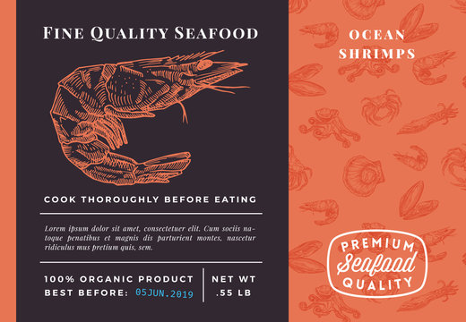 Premium Quality Seafood Abstract Vector Shrimp Packaging Design or Label. Modern Typography and Hand Drawn Sketch Seamless Pattern Background Layout of Prawns, Scallops, Squids and Crabs