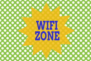 Word writing text Wifi Zone. Business photo showcasing provide wireless highspeed Internet and network connections Seamless background pattern with dots. Simple wallpaper. Polka design