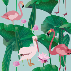 Delicate white pelikan, two pink flamingo, palm tree leaves and inflorescence of water lily. Vector illustration. Picture with exotic birds and flowers on a light blue background. Endless pattern
