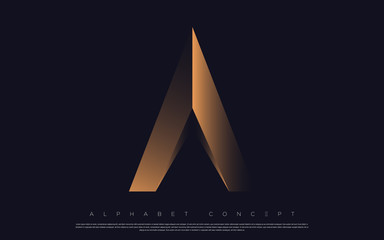 Golden premium alphabet design. A letter logo for luxury design elements. Poster, banner, flyer, presentation, web design etc. Vector EPS