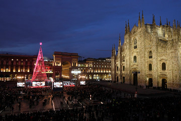 A giant Christmas tree is unveiled in Milan's Duomo Square