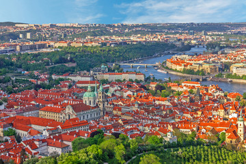 Prague hoses city landscape Vltava river view, Czech Republic.