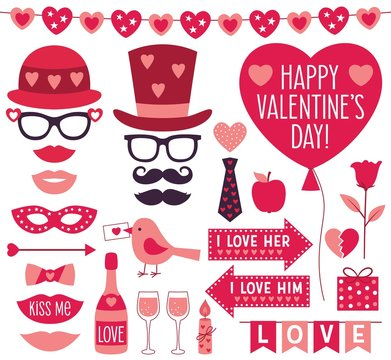Valentines Day vector party props and clip art